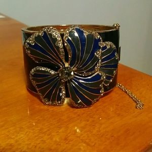 J Crew Cuff Bracelet Black Blue Flower